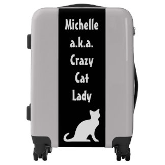 Custom luggage Funny suitcase for crazy cat lady