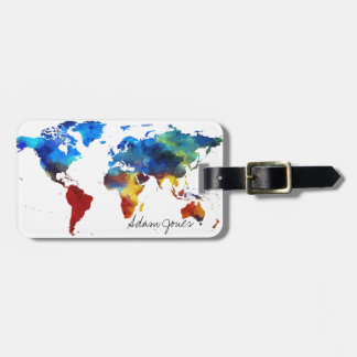 Custom Luggage Tag - Watercolor World Map