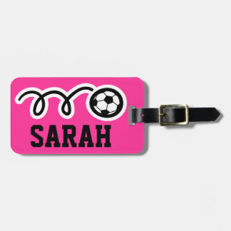 Custom luggage tag with funny soccer ball