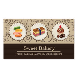 Custom Macaron Chocolate Cupcake Bakery Store Double-Sided Standard Business Cards (Pack Of 100)