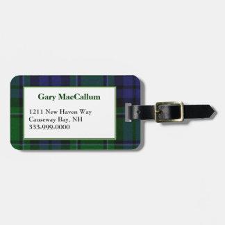 Custom MacCallum Tartan Plaid Luggage Tag