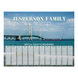 Custom Mackinac Bridge Birthday Calendar Posters