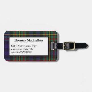 Custom MacLellan Tartan Plaid Luggage Tag