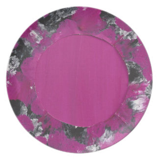 custom made abstract cerise plate
