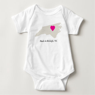 Custom Made In North Carolina State Love Baby Tee