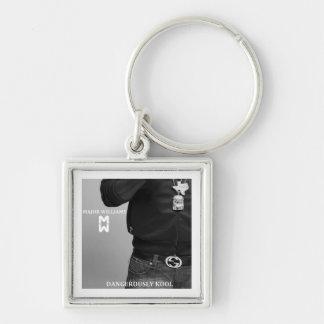Custom Made Key Chain- Dangerously Kool Silver-Colored Square Keychain