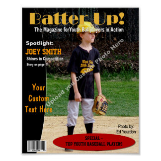 Custom Magazine Cover, Youth Baseball Poster
