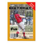 "Custom Magazine Style Sports Birthday Party Invite 5"" X 7"" Invitation Card"
