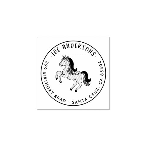 Custom Magical Unicorn Family Name Return Address Rubber Stamp