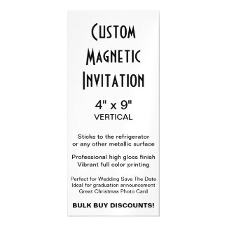 "Custom Magnetic Invitation 4"" x 9"" Vertical"