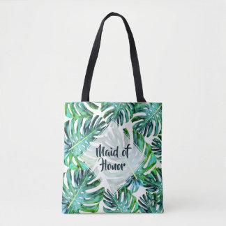 Custom Maid of Honor Tropical Leaf Greenery Tote Bag