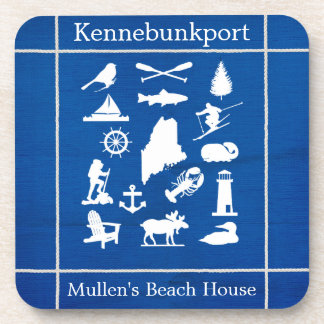 Custom Maine Blue Coasters with White Maine icons
