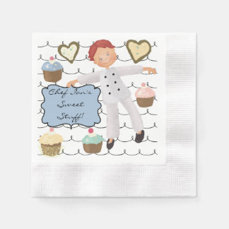 Custom Male Chef Baking Party Paper Napkins Coined Cocktail Napkin