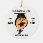 Custom Male Graduate Cartoon Christmas Tree Ornaments