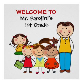 Custom Male Teacher and Students Welcome Poster