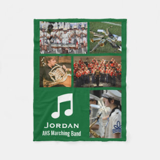 Custom Marching Band 5 Photo Collage Your Colors Fleece Blanket
