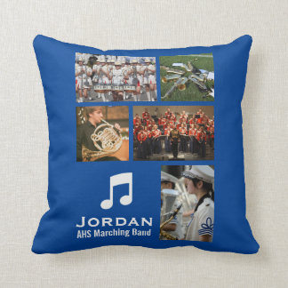 Custom Marching Band Orchestra Music Photo Collage Throw Pillow