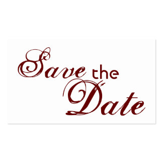 Custom maroon letter save the date wedding cards business card