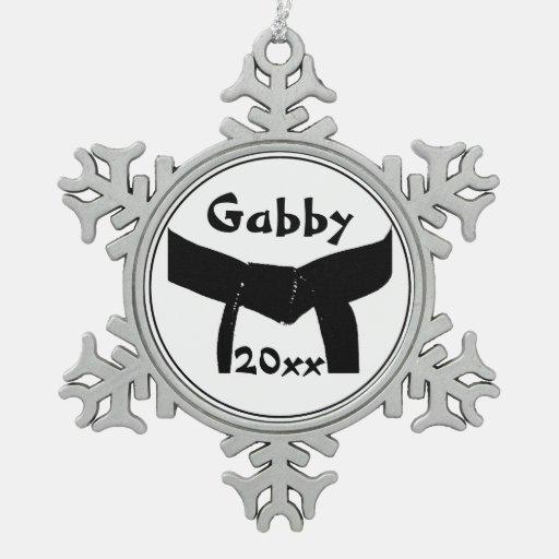Custom Martial Arts Black Belt Snowflake Ornament