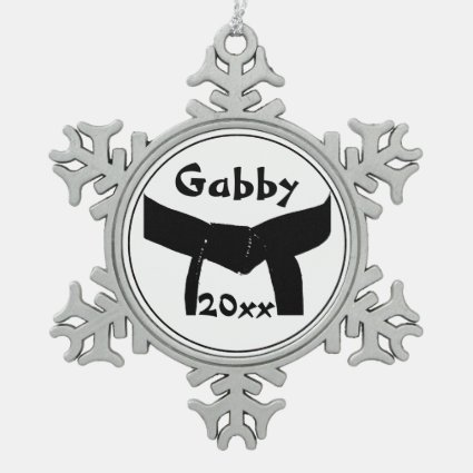 Custom Martial Arts Black Belt Snowflake Ornament
