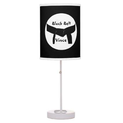 Custom Martial Arts Black Belt Table Lamp