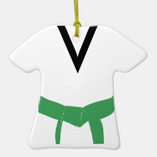 Custom Martial Arts Green Belt Uniform Ornament