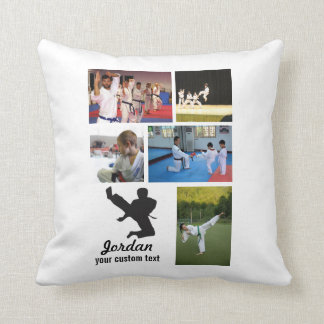 Custom Martial Arts Karate 5 Photo Collage Throw Pillow