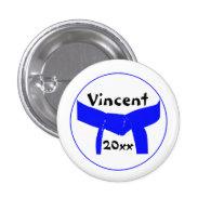 Custom Martial Arts Light Blue Belt Button