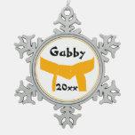 Custom Martial Arts Orange Belt Snowflake Ornament