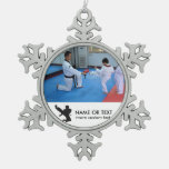 Custom Martial Arts Photo Christmas Snowflake Snowflake Pewter Christmas Ornament