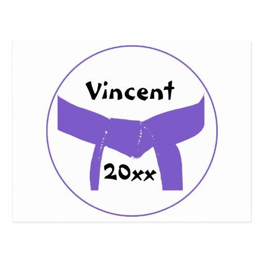 Custom Martial Arts Purple Belt Postcard