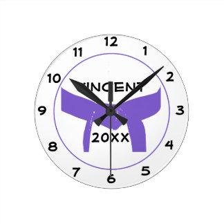 Custom Martial Arts Purple Belt Round Clock