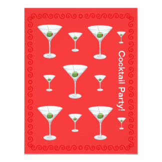 Custom Martini Glass Cocktail Event Party  Red Custom Invites
