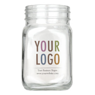 Custom Mason Jar Drinking Glass with Company Logo