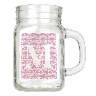 Custom Mason Jar Initial Letter M, Monogram Pink