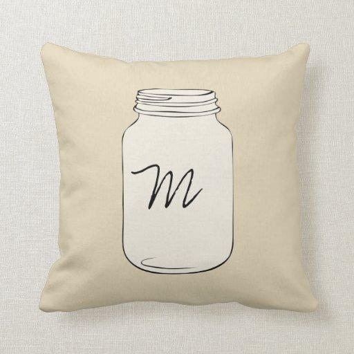 Custom Mason Jar Monogram Pillow - Tan
