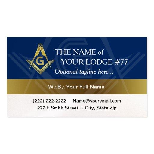 Custom masonic business card freemasonry blue gold zazzle for Freemason business cards