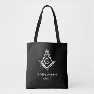 Custom Masonic Gifts | Black Freemason Tote Bag