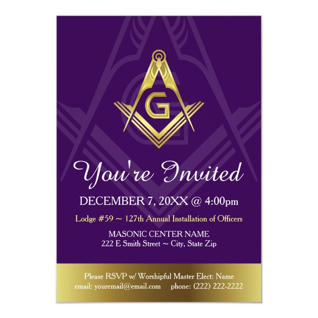 Custom Masonic Invitation Templates