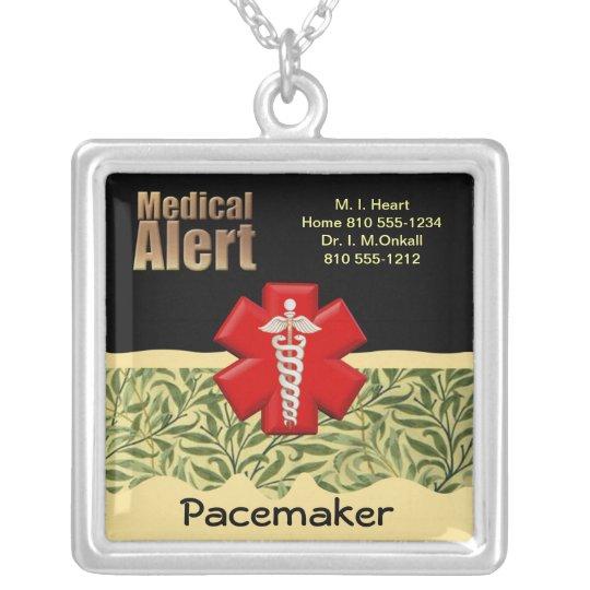 Custom Medical Alert Silver Plated Necklace