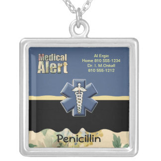 ☤Custom Medical Alert Silver Plated Necklace