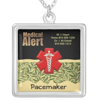 Custom Medical Alert Square Pendant Necklace