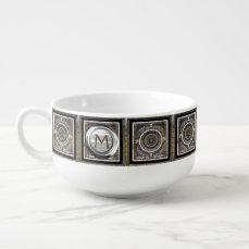 Custom Medieval Silver Monogram Soup Mug