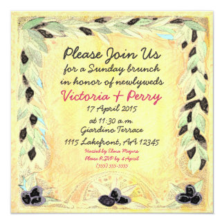 Custom Mediterranean Olive & Yellow Luncheon - 5.25x5.25 Square Paper Invitation Card