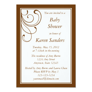 "Custom Medium Brown Invitation - Elegant Flourish 5"" X 7"" Invitation Card"