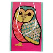 Custom Medium Gift Bag with Bright Owl