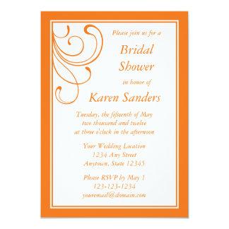 "Custom Medium Orange Invitation - Elegant Flourish 5"" X 7"" Invitation Card"