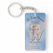 Custom Memorial Angel Wings Add Photo Keychain