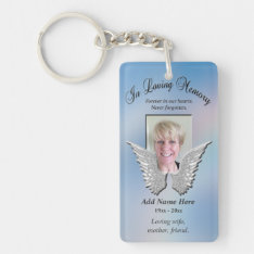 Custom Memorial Angel Wings Add Photo Keychain at Zazzle