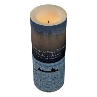 Custom Memorial Candle Fishermen Silhouette